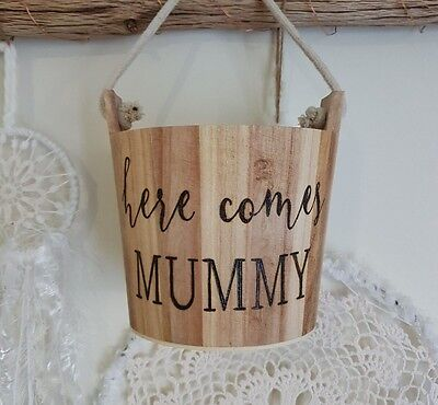 Wooden flower girl bucket / basket - Hand burnt / personalised - rustic wedding