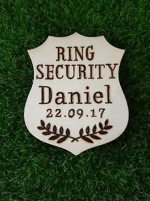 Personalised wooden Ring bearer badge, ring security, page boy