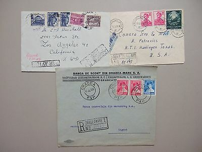 Three old Romania ,Bulgaria registered covers:Romania 1930+1956,Bulgaria 1949