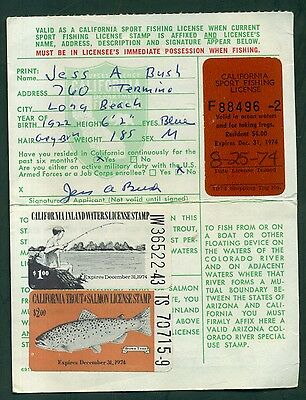 1974 California Sport Fishing License w/Trout & Inland Waters Stamps