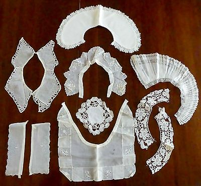 Lot Of Antique Vtg Collars, Cuffs, Coaster - Lace, Linen, Applique, Embroidered