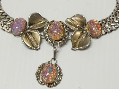 Vintage Antique Mexican Sterling Silver + Fire Opal Jewelry Set - Signed