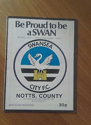 Swansea City V Notts County 13Th September 1980 Division Two Both Promoted