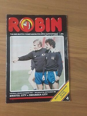Bristol City V Swansea City 6Th September 1980 Division Two Swans Promoted