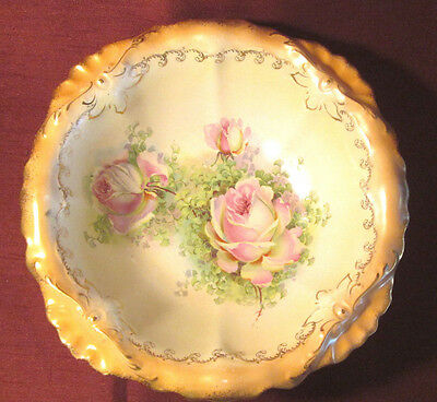 Antique VICTORIAN Large 1890S FANCY SERVING BOWL  Big PINK & YELLOW ROSES