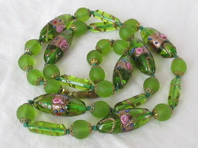 VINTAGE Estate Green Frosted Flower Glass Bead & Filigree Brass Necklace