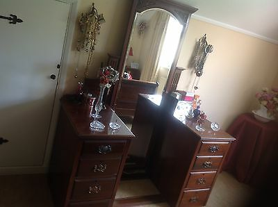 Edwardian antique full length mirrored dressing table/chest of drawers