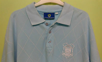 """FOOTBALL CARDIFF CITY POLO SHIRT by CCFC OFFICIAL, MENS UK SIZE M, CHEST 38"""" SKY"""