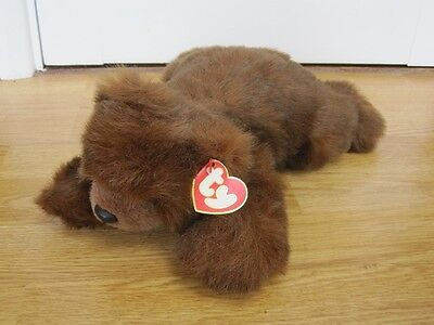 "Ty Baby Paws 12"" Laying Beanie Bear Soft Toy With Tag 1996"