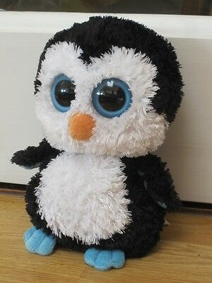 "TY WADDLES PENGUIN LARGER 9"" SOFT TOY BEANIE Wv BIG BIG BOO EYES"