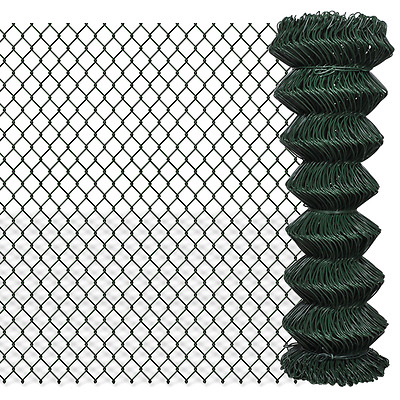 Green Galvanized Steel Mesh Wire Chain-link Fence PVC Coating 1.25x15m 60x60mm