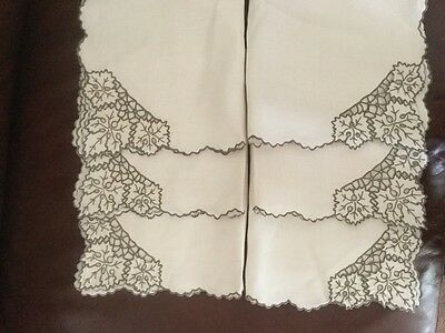 "6 large, vintage, embroidered linen dinner napkins. madiera cutwork 17"" X 17"""
