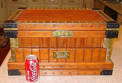 Neat small size antique travel chest, trunk--lift lid and drawer-----15416