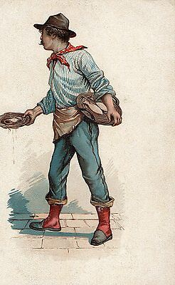 POSTCARD PERSONS  ITALY  Fish Seller
