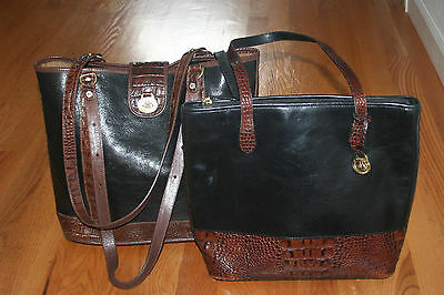 Lot of 2 Brahmin Tuscan Leather Shoulder Tote Bags