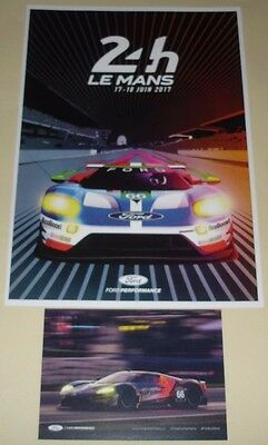 Le Mans 2017 WEC GTE PRO Ford GT #66 EcoBoost Signed Card & Postcard Sized Card