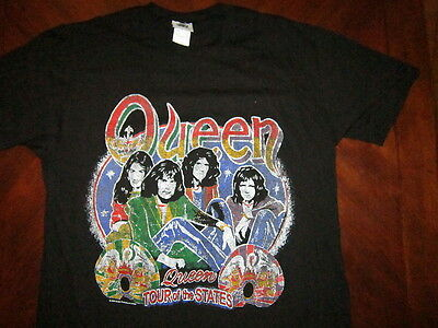 NWT NEW QUEEN TOUR OF THE STATES THE GAME TOUR Black cotton t-shirt sz. L, XL