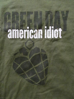RARE version Original 2004 GREEN DAY AMERICAN IDIOT Green T-shirt Men's L LARGE