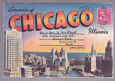 Chicago Foldout Postcard Used 1954
