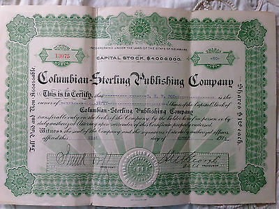 Columbian-Sterling Publishing Company Stock Certificate 1912