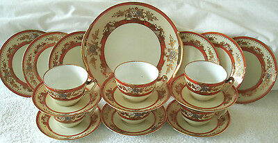 A Stunning Gold Encrusted Noritake  Floral 19 Piece Tea Set