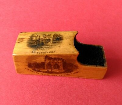 Mauchline Ware Pen Wiper with three Prints of Dryburgh Abbey.