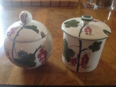Two Plichta Wemyss jam pot s with lid Red Currant decoration