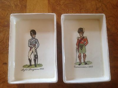 Two Plichta Wemyss pin dishes military decoration Cameronians Light Dragoons