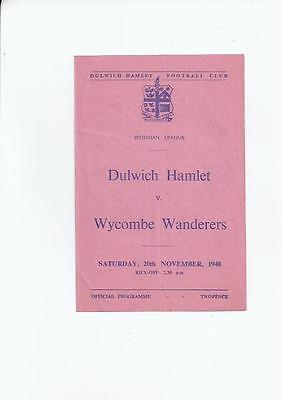 Dulwich Hamlet v Wycombe Wanderers Football Programme 1948/49