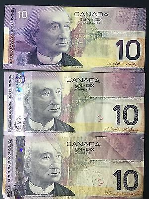 Canada $10 Dollars, 2001, 2005, 2005, 1 Note from lot of 3, circulated