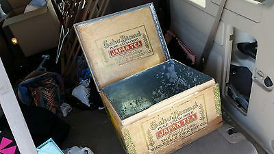Antique Echo Brand Rockford IL Grocery Country Store Japan Tea Wood & Tin Box