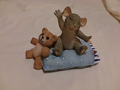 CHARMING TAILS  Sleepy Head Mouse 89/113 PILLOW TEDDY SIGNED GRIFF(6476)