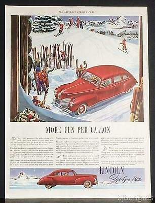 1941 Red Lincoln-Zephyr Motor Car Snow Mountains Ski Slopes Vintage Print  Ad