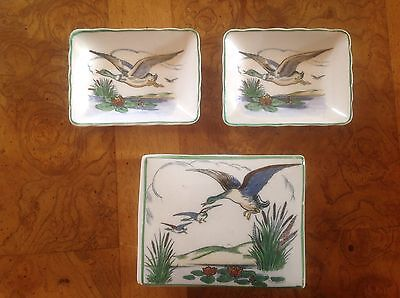 Two Plichta Wemyss pin dishes and one lidded pot flying ducks decoration