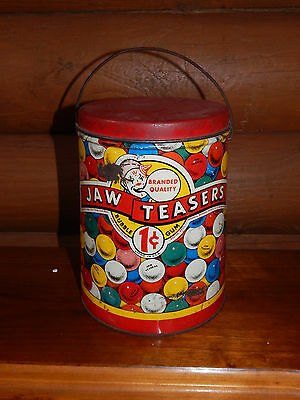 Rare VINTAGE Jaw Teasers Metal Gum Ball Tin w/ Lid 1-cent Clown Candy