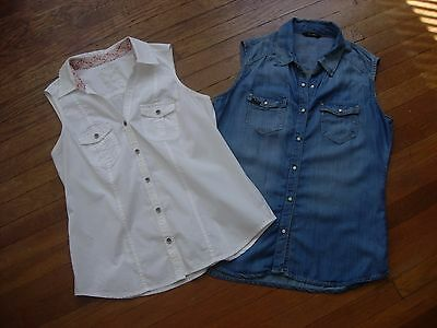Lot Of 2 Women's Sleeveless Button/snap Up Collared Shirts/tops Size M & S