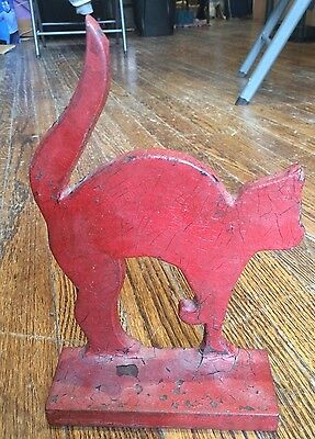 Cast Iron Red Painted Cat Doorstop American Vintage Early 20th C Arched Back
