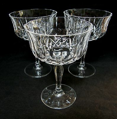 Set of three lead crystal large champagne saucers ~ Fantastic quality