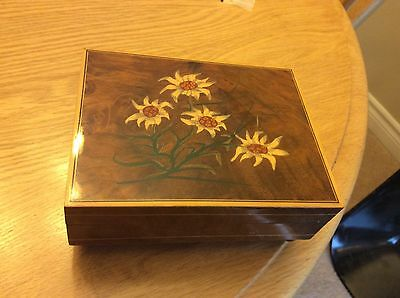 Circa 1970s Swiss Edelweiss Hardwood Hand painted Lacquered Music Box