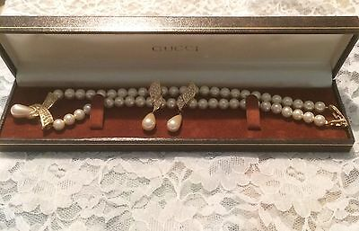 Vintage Napier Demi Parure Necklace Earrings Gold P Vtg Gucci Bracelet Box Inc