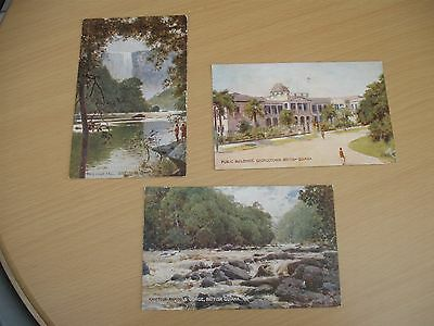3 postally used postcards British Guiana Georgetown and Kaieteur fall  1925