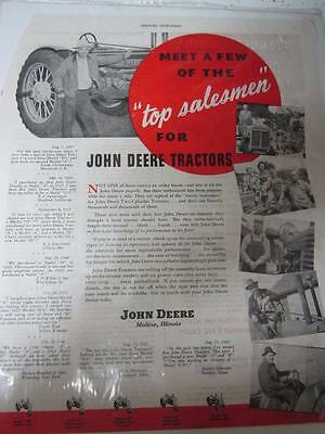 Vintage 1945 John Deere Tractor Ad! Great For The Man Cave, Or Jd Collector!