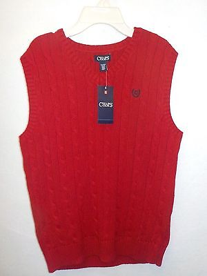 Boys Size Xlarge 18/20 Chaps Red Cable Knit Sweater Vest Cotton Nwt New 357^