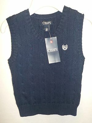 Boys Size 4 Chaps Navy Blue  Cable Knit Sweater Vest Cotton Nwt New 359^