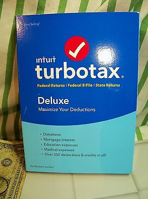 Intuit Turbotax Deluxe 2016 Turbo Tax PC windows and Mac Federal + State sealed