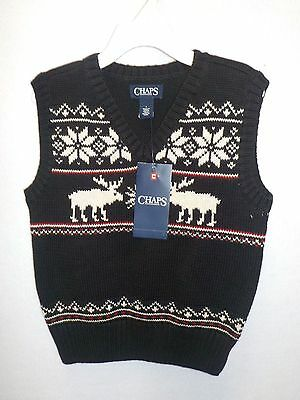 Boys Size 4 Chaps Black Reindeer Holiday Knit Sweater Vest Cotton Nwt New 360^