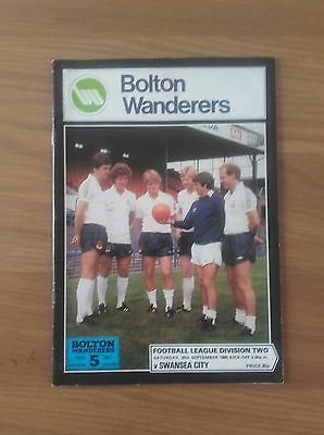 Bolton Wanderers  V Swansea City 20Th September 1980 Division Two Swans Promoted