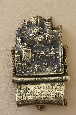 Vintage brass door knocker featuring Edinburgh Castle from the Grassmarket