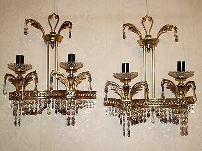 Pair VINTAGE GOLD GILT ??BRASS?? GLASS CRYSTAL * TWIN ARM WALL LIGHTS SCONCES *