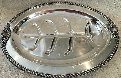 """Silver Plated Meat Carving & Serving Footed Tray 15.5"""" ~ Tree Design ~ Unmarked"""
